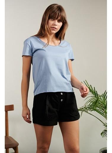 Levure Pamuklu T-Shirt  Mavi